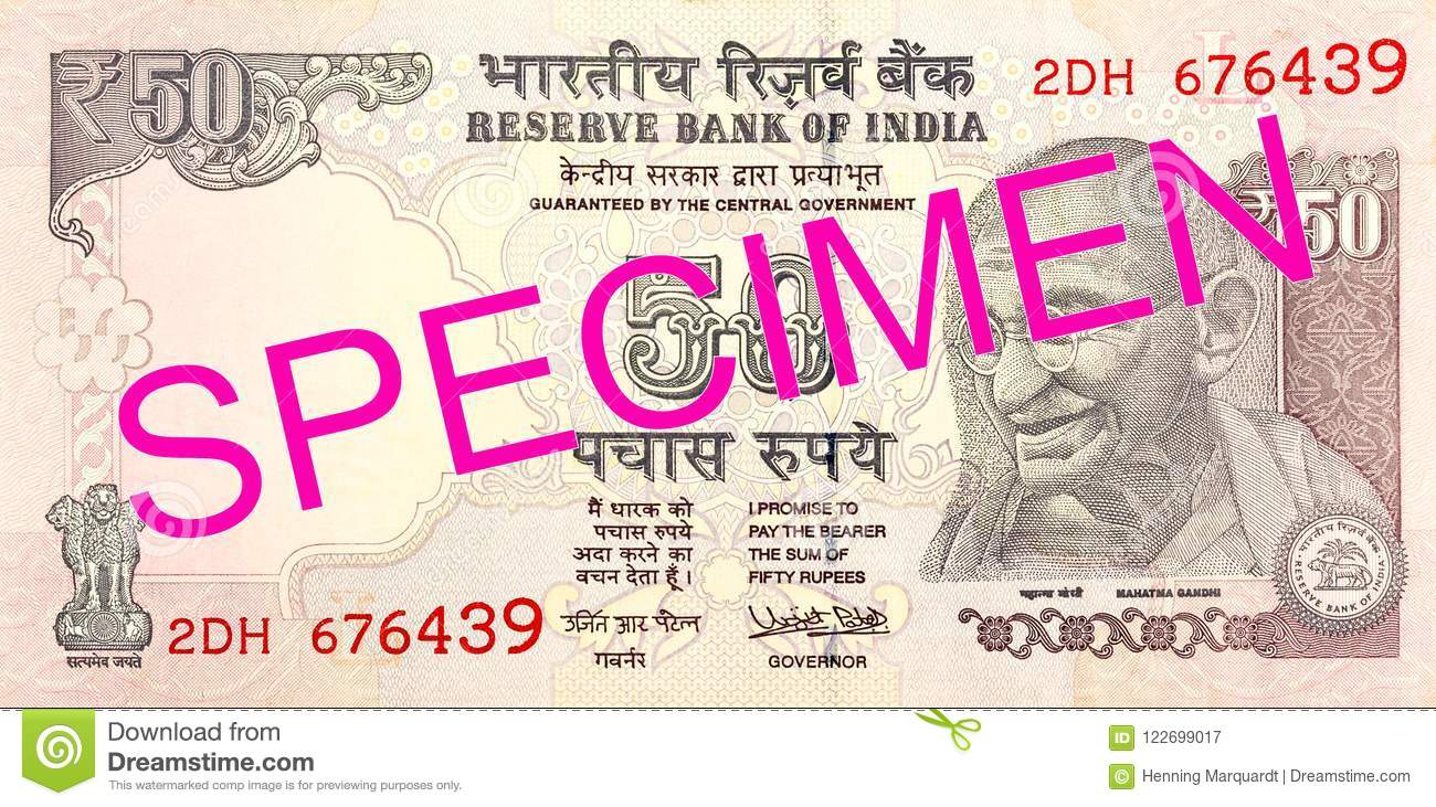 50 Indian Rupee Bank Note Obverse Stock Image - Image of