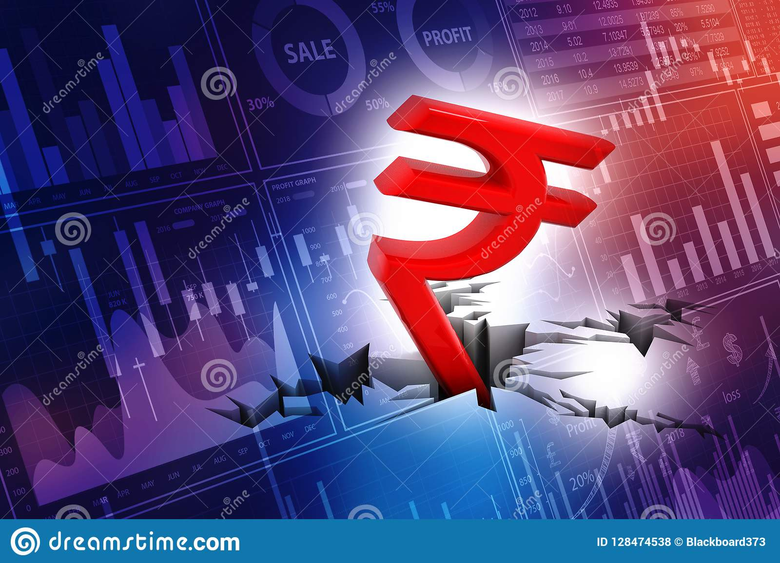 Indian Rupee Crisis Concept Red Indian Rupee Symbol Down To Ground