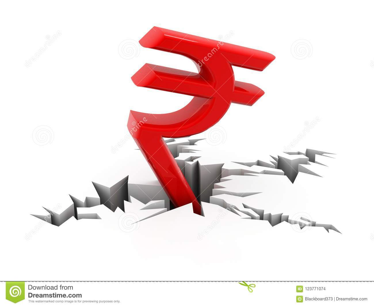 Red Indian Rupee Symbol Down To Ground 3d Rendering Isolated On