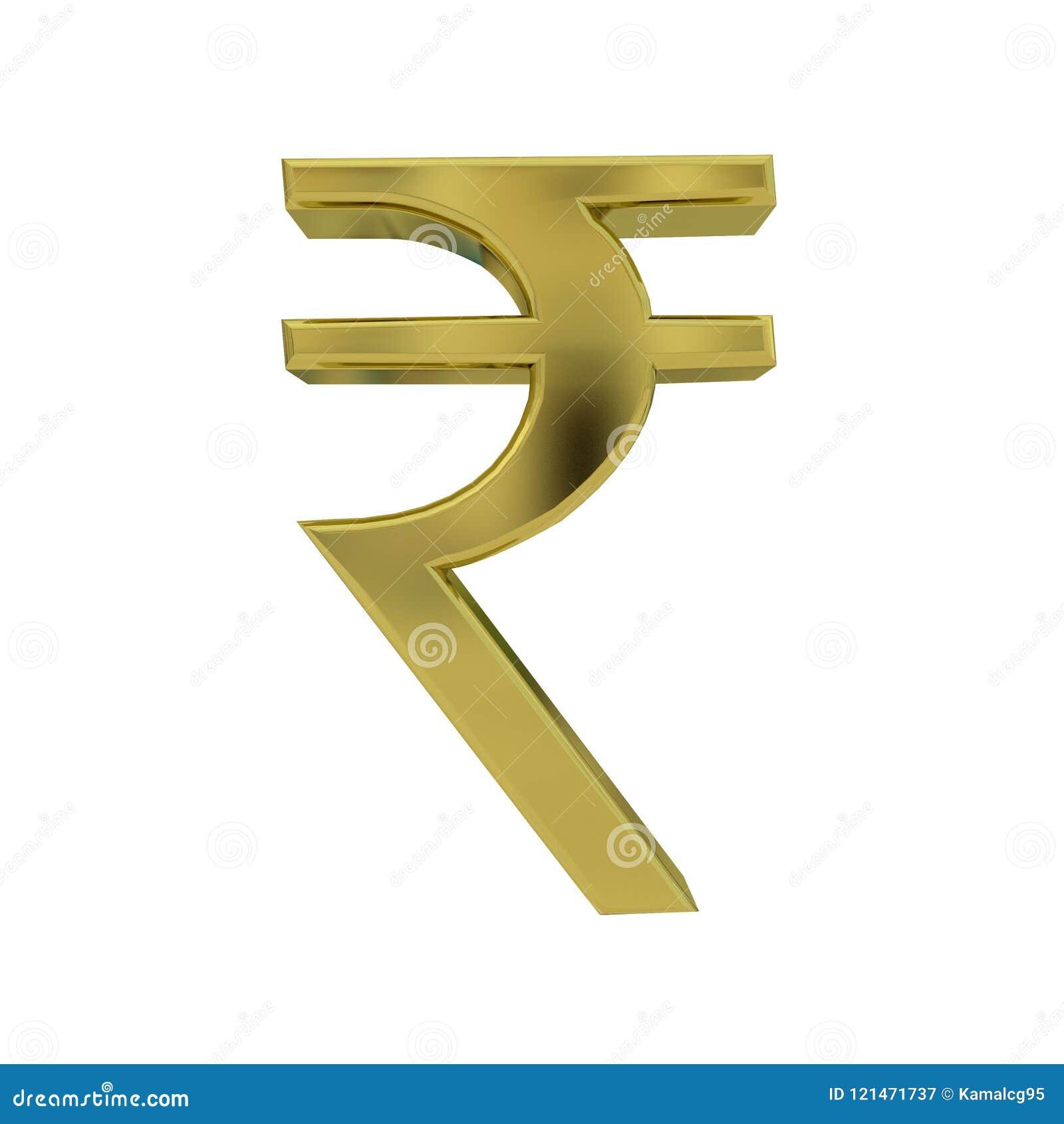 Indian Rupee Golden Symbol Isolated On White Stock Illustration