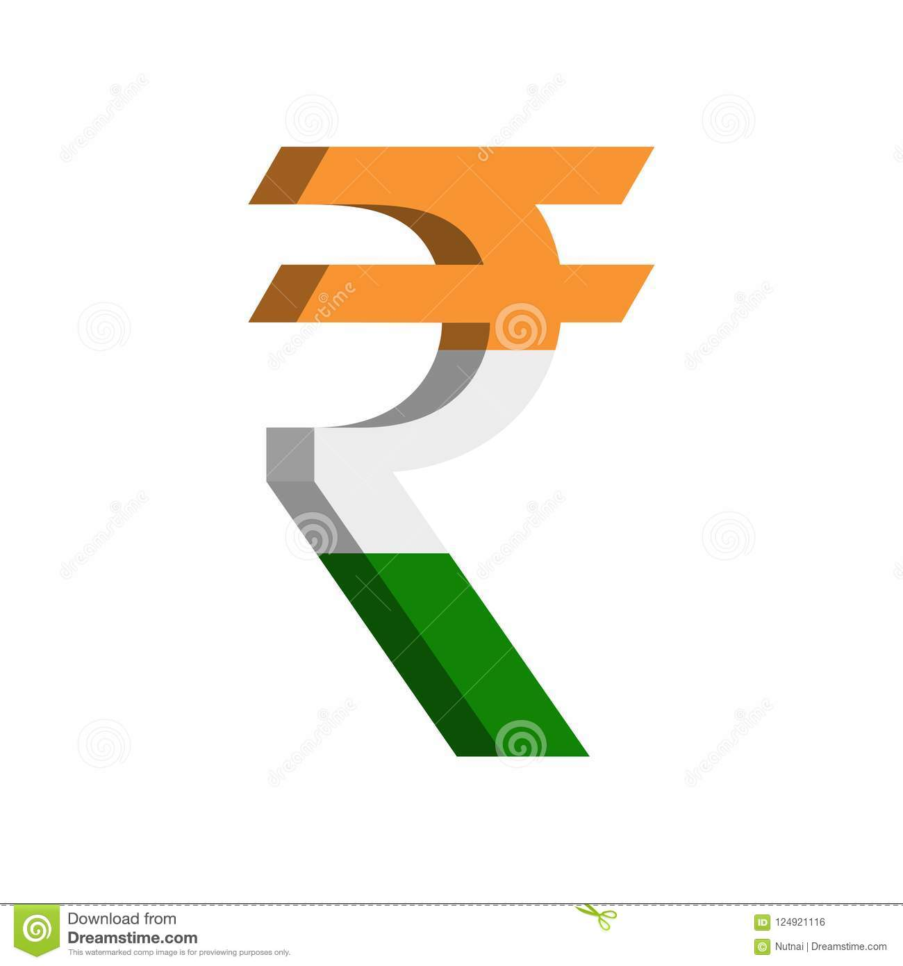 Indian Rupee Inr Currency Symbol With Flag Vector Stock Vector