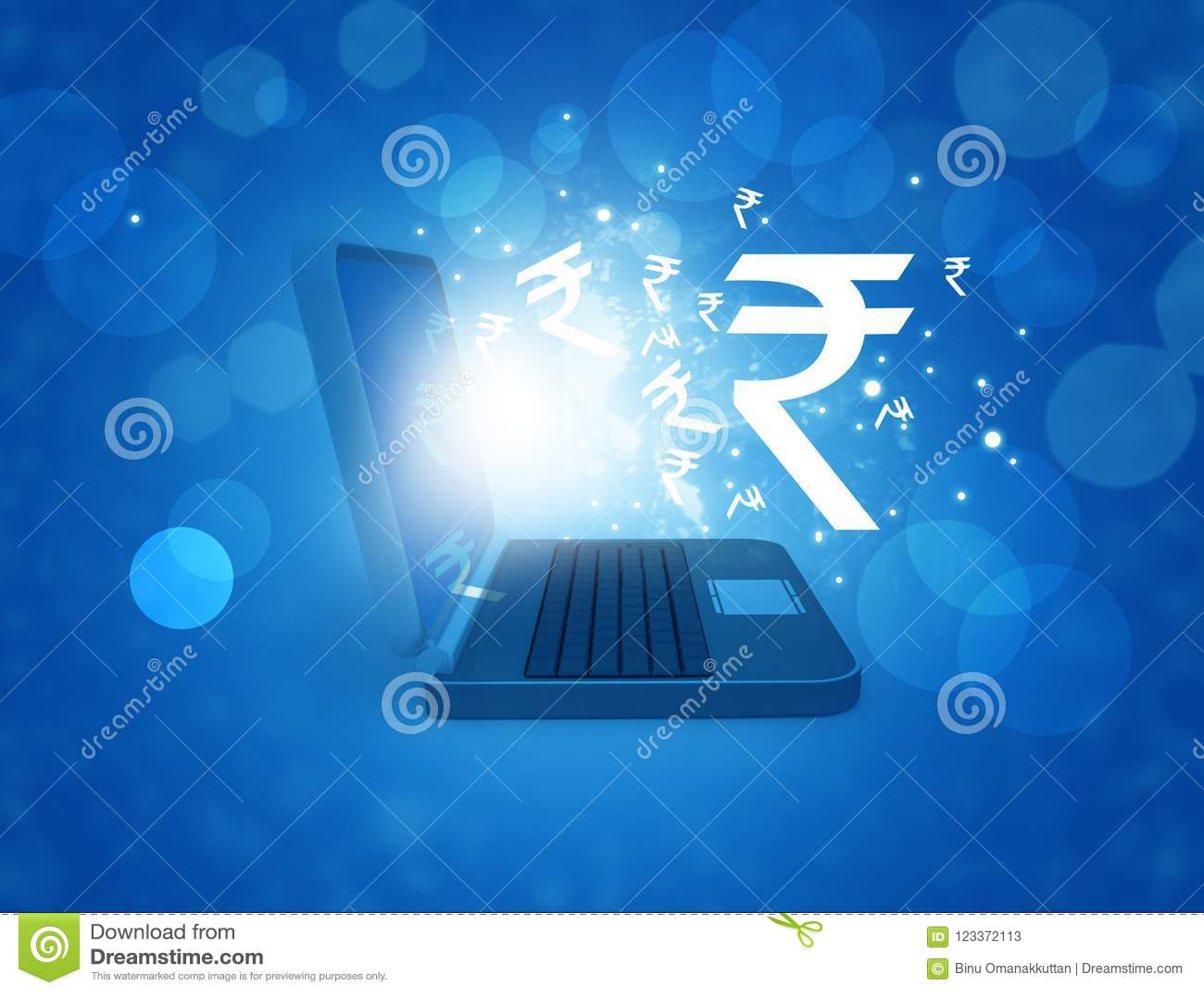 Indian Rupee Symbol In Laptop Stock Illustration Illustration Of