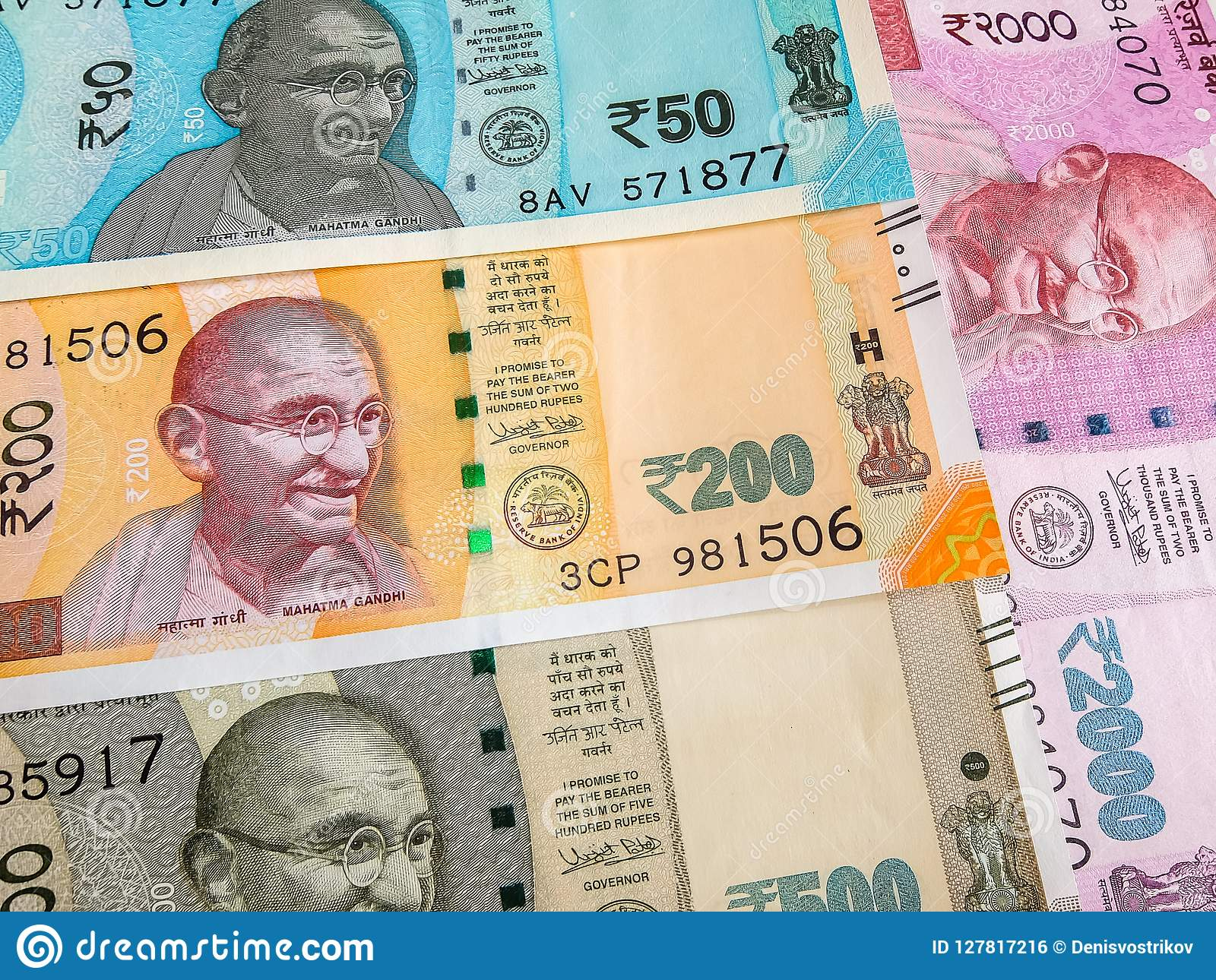 Indian rupees, new notes  stock photo  Image of currency