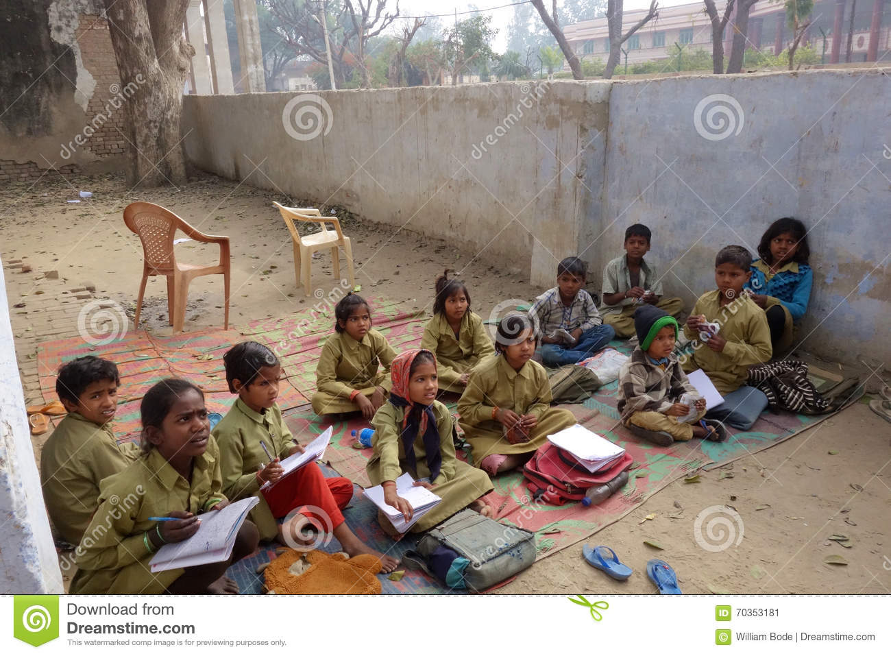 Indian Rural School Kids Outside Editorial Photo Image