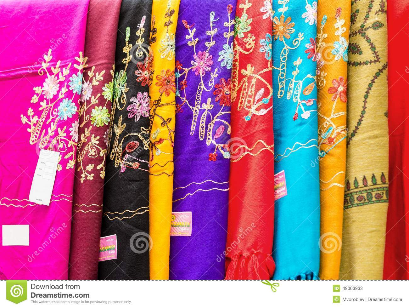 Indian Shawls In A Market Stock Photo Image 49003933