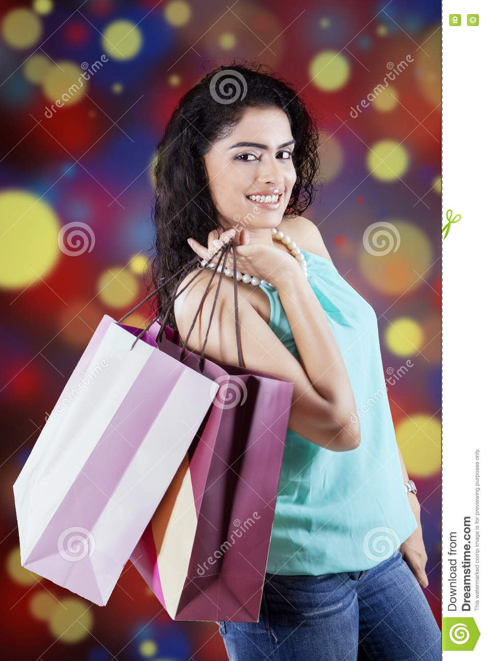 Indian shopper with defocused background