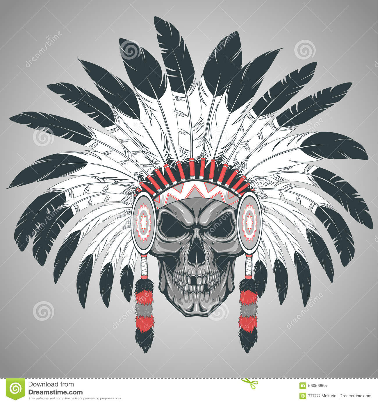 indian skull chief stock vector image 56056665