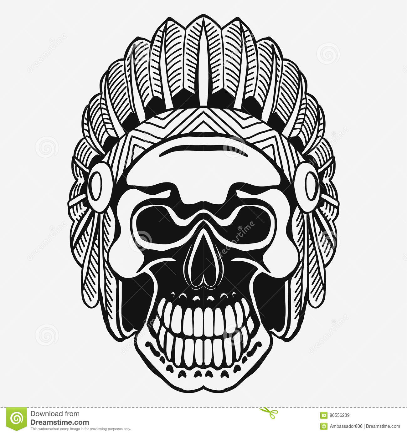 ff943a38924 Indian Skull with Tribal feather Hat. Dead Chief in war bonnet. Native  American Indian Headdress. Vector