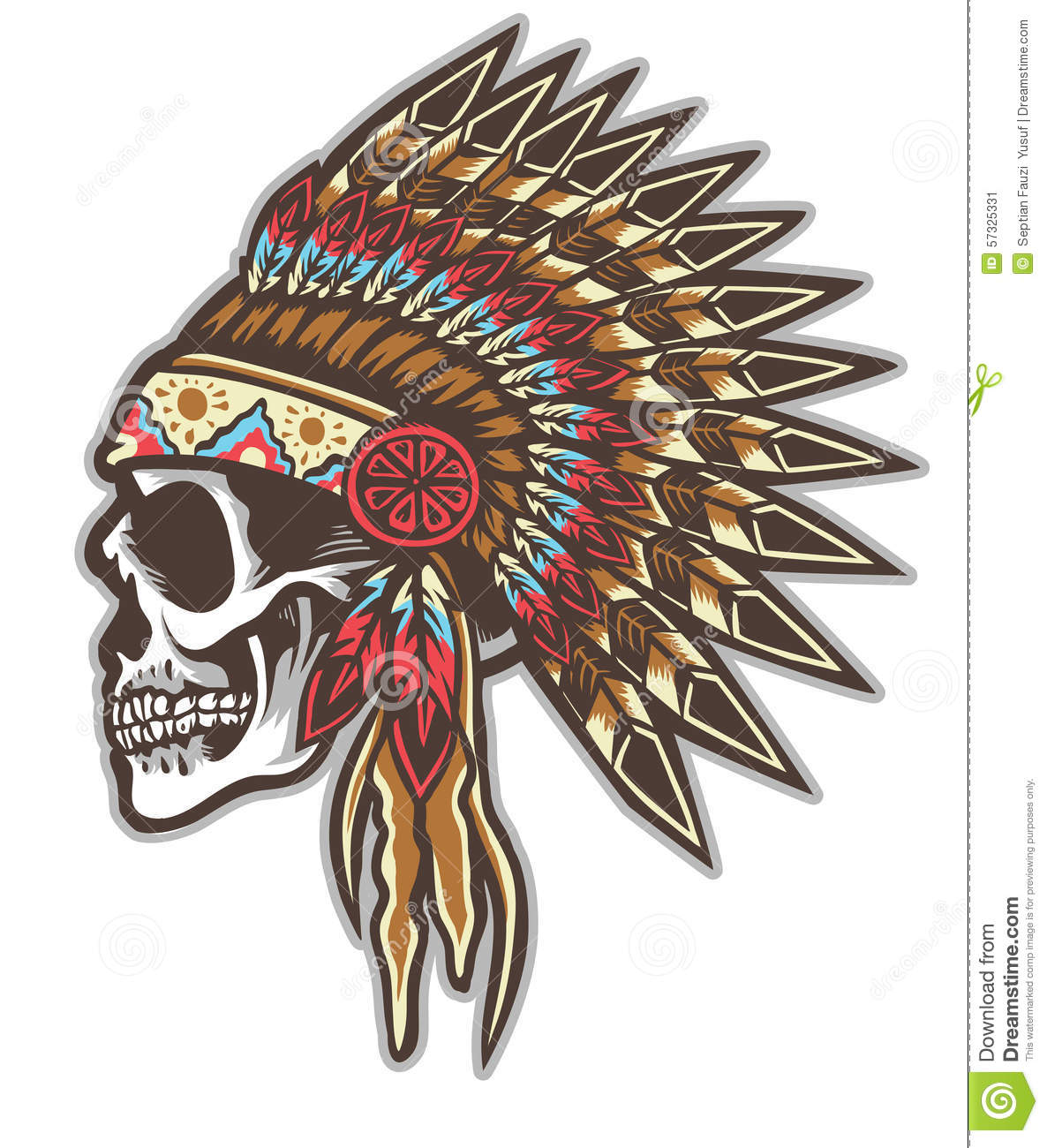 Cherokee For Less >> Indian Skull Stock Vector - Image: 57325331