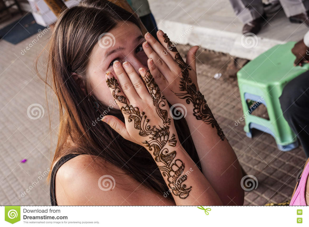 Mehndi For Head : Indian street master uses henna paste or mehndi editorial
