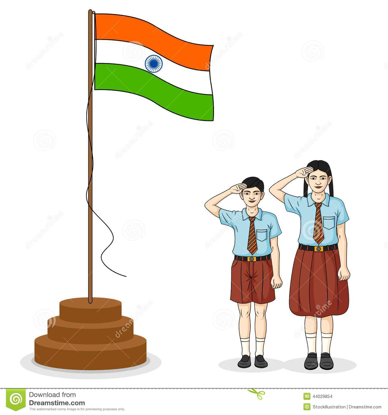 Indian Student Saluting Flag Of India Stock Vector - Image: 44029854