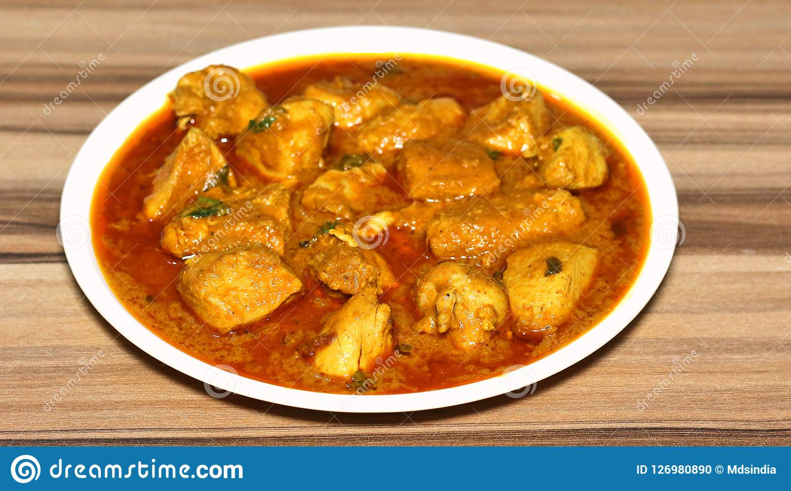 Indian Style Boneless Chicken Curry Stock Photo Image Of Powder