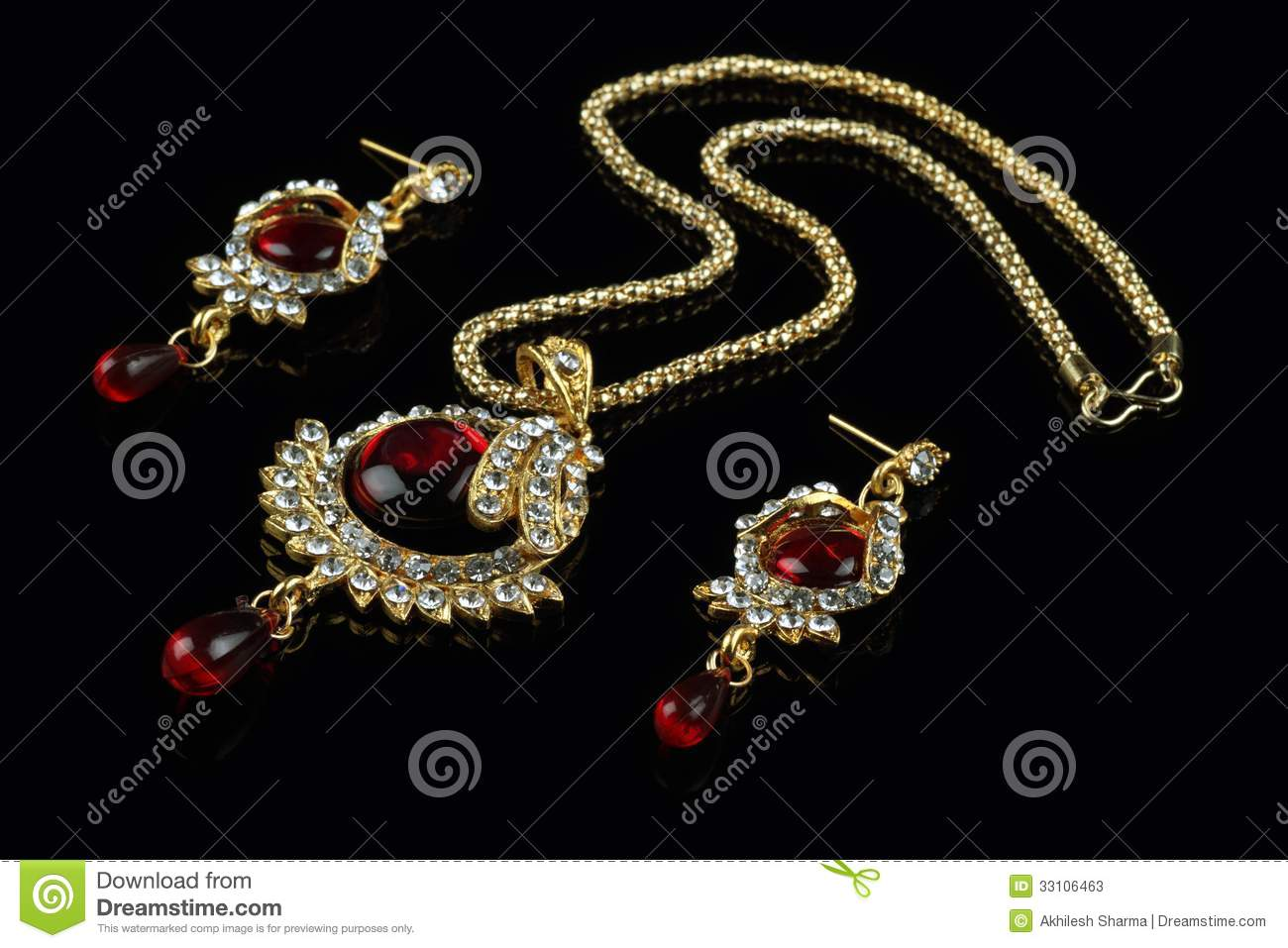 Indian Style Jewelry Set Necklace And Earrings Stock