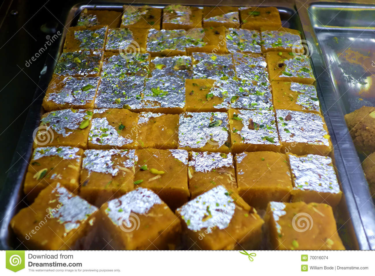 Indian Sweetmeats With Silver Foil Stock Photo Image