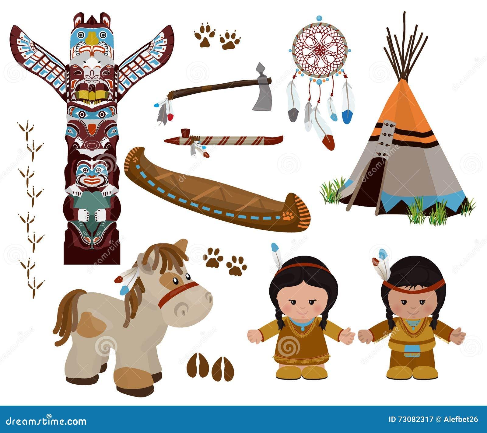 Cartoon indians tepee stock vector illustration of interior indian symbols set cartoon characters of american indians royalty free stock photography biocorpaavc