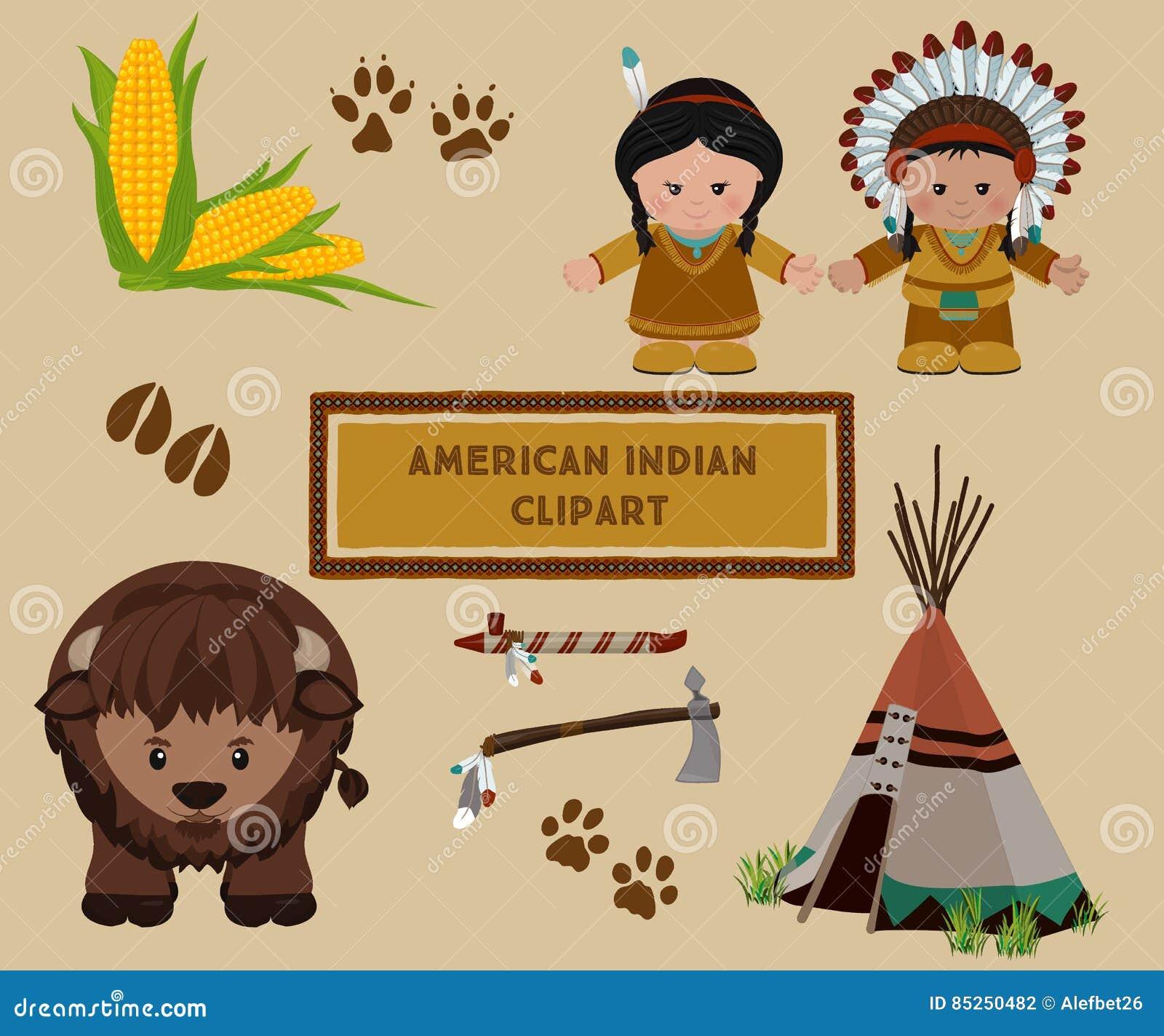 Indian Symbols Set Cartoon Characters Of American Indians Stock