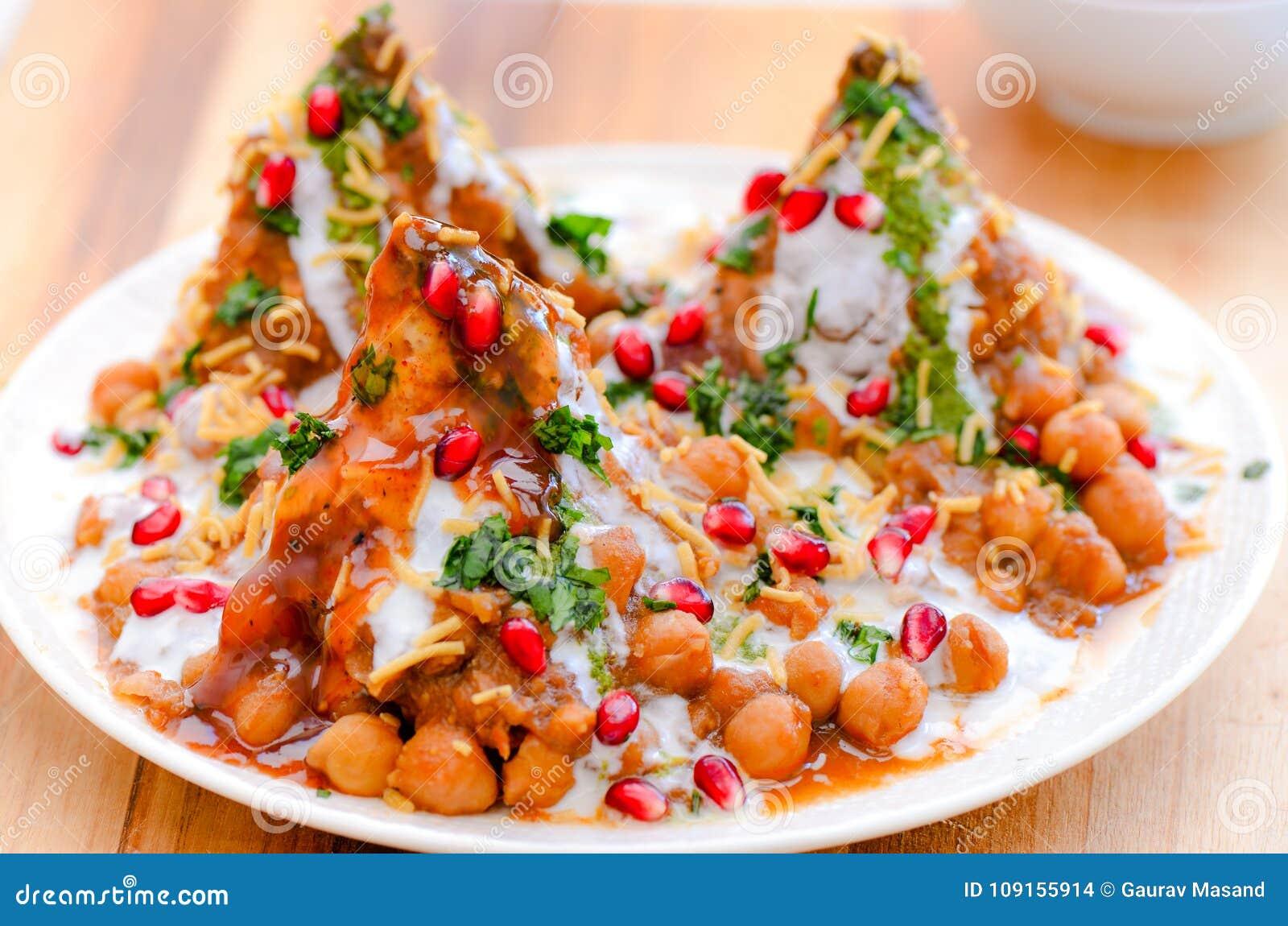 Indian snacks- chole samosa chaat