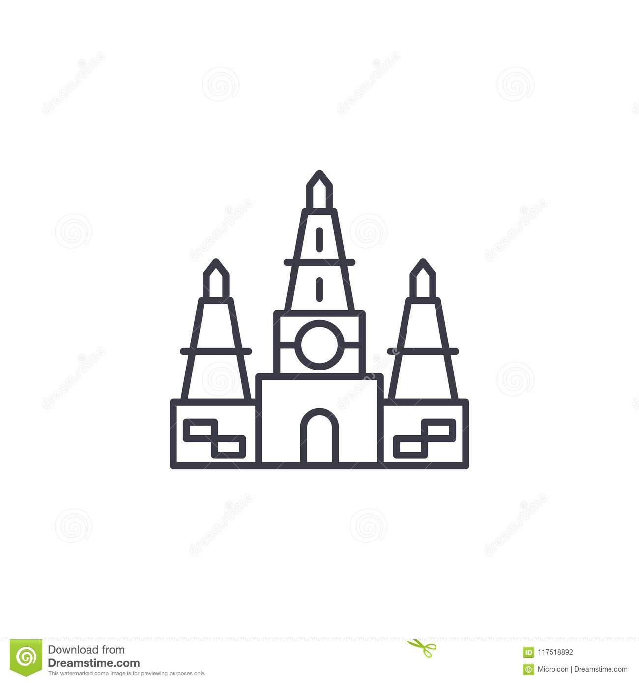 Indian Temple Linear Icon Concept Indian Temple Line Vector Sign