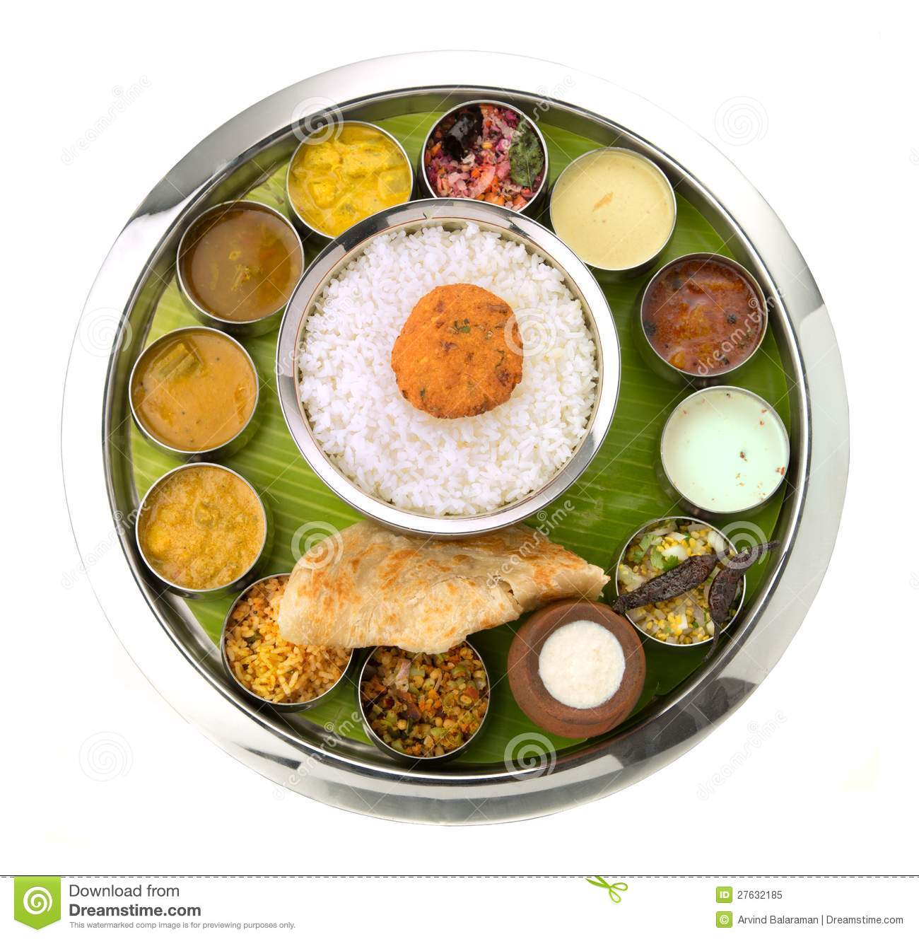 Indian thali stock image image of lankan papad for Abhiruchi south north indian cuisine