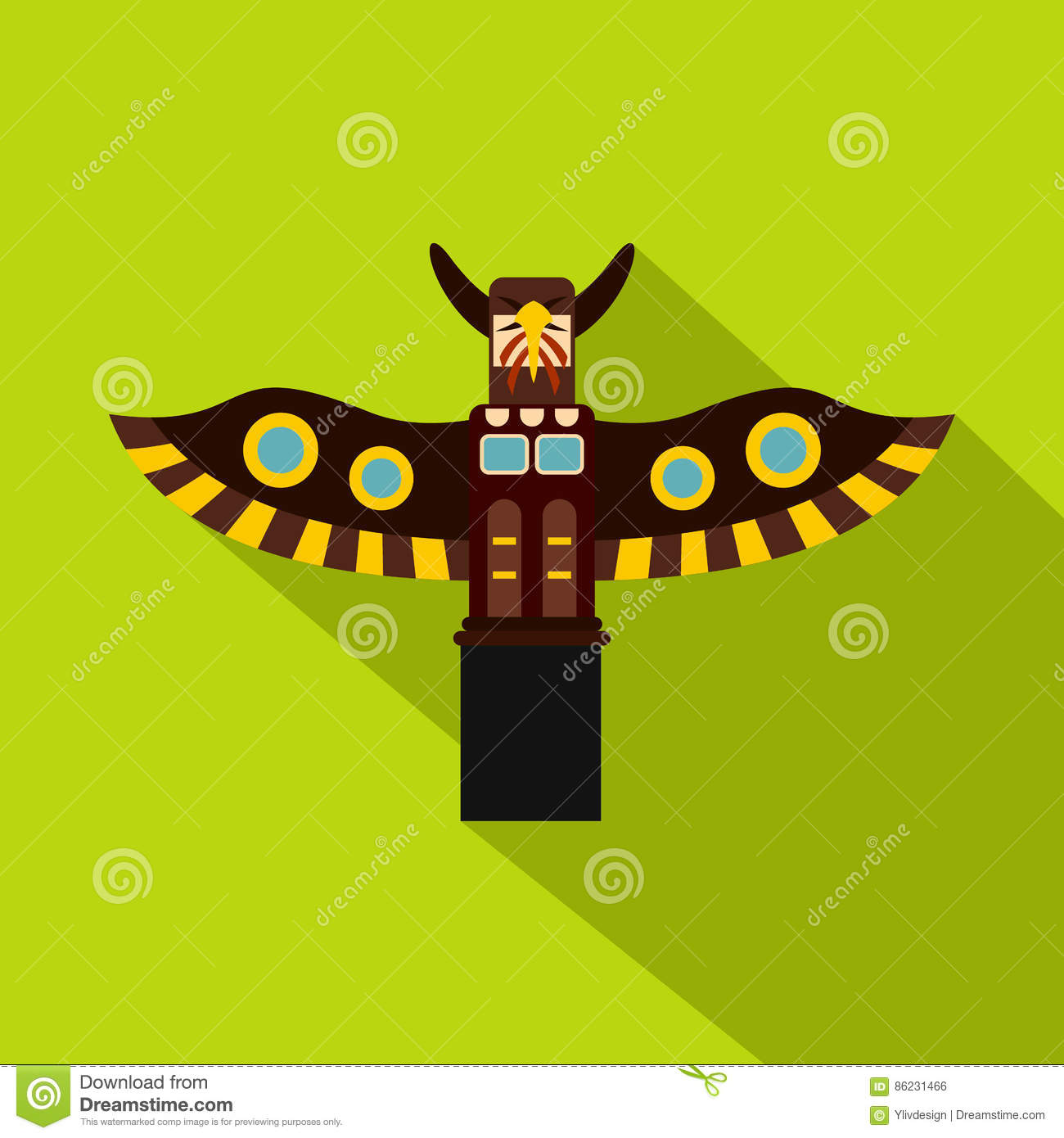 indian totem pole in stanley park canada icon stock vector