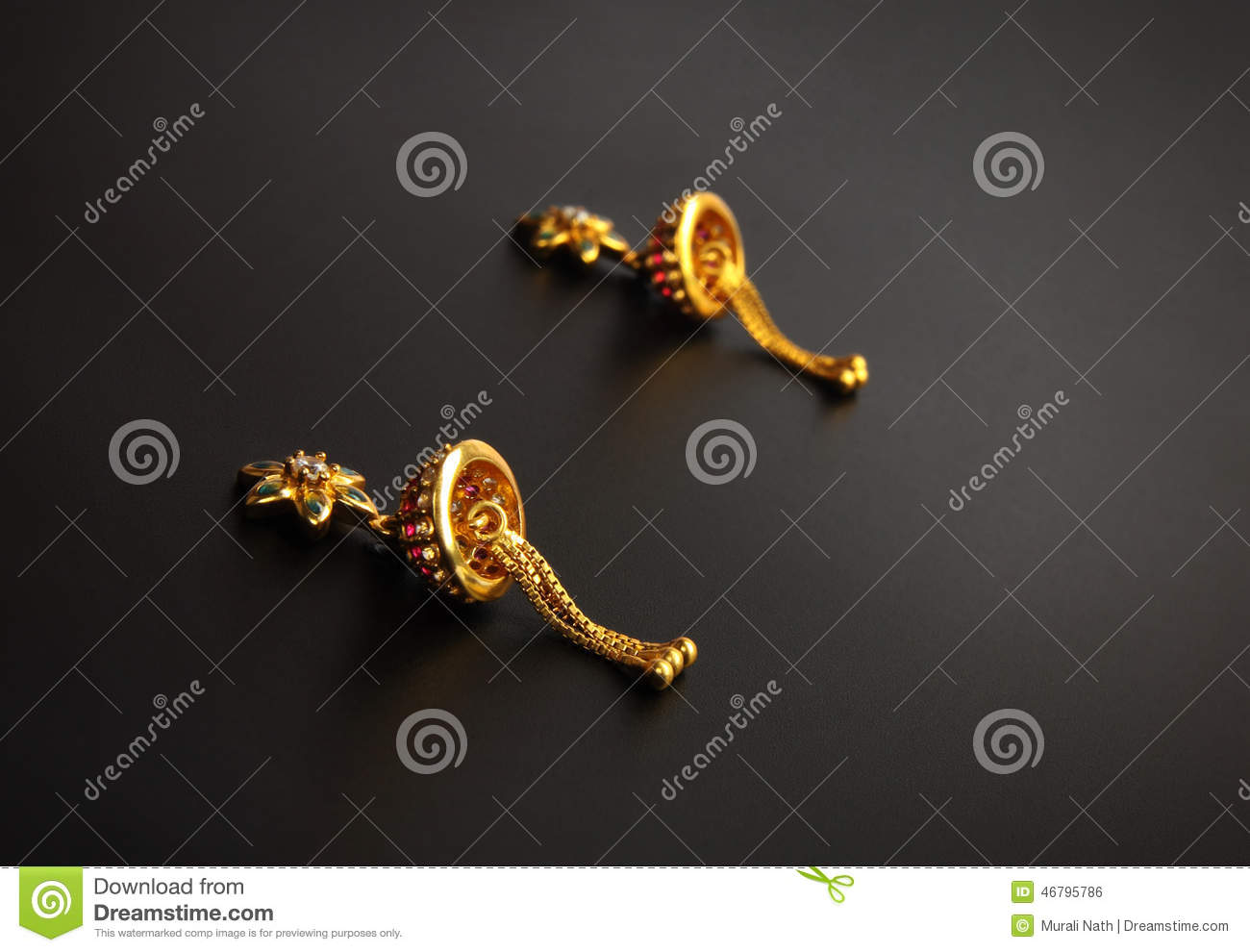 Indian Traditional Gold Earrings Stock Photo - Image of designer ...