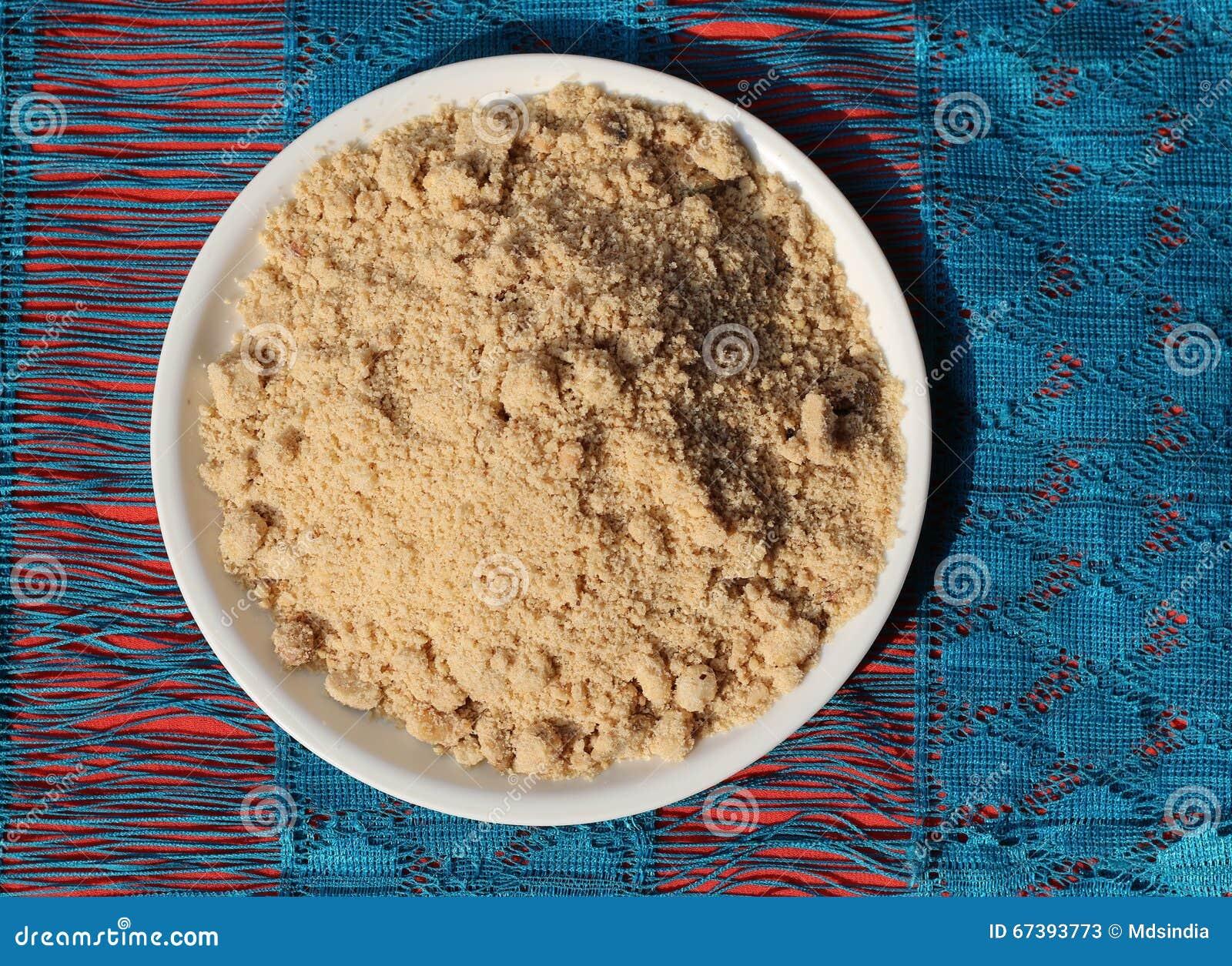 Indian traditional roasted wheat flour sweet or Panjiri