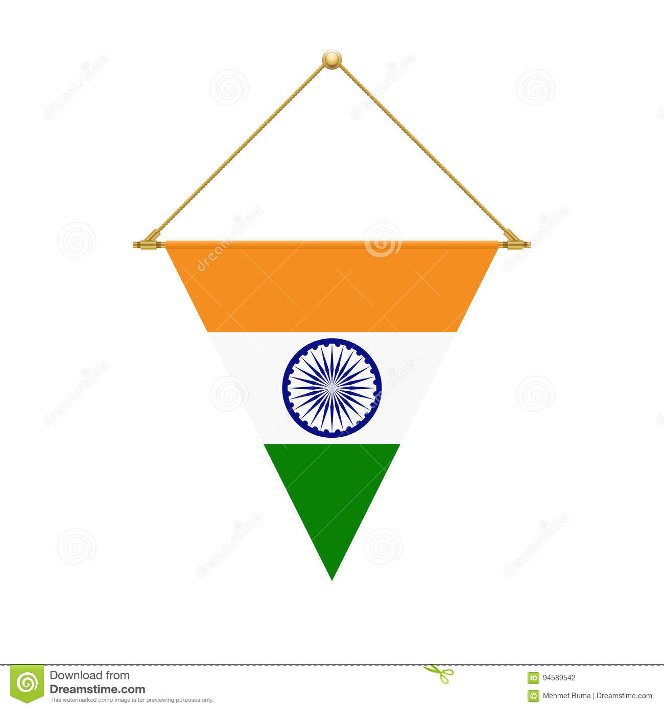 Indian Triangle Flag Hanging, Vector Illustration Stock Vector ...