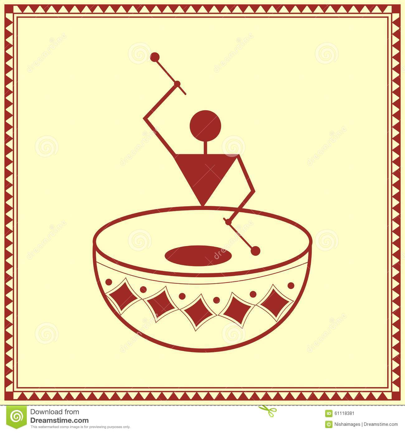 Indian Tribal Painting. Warli Painting Of A Dance Stock ...