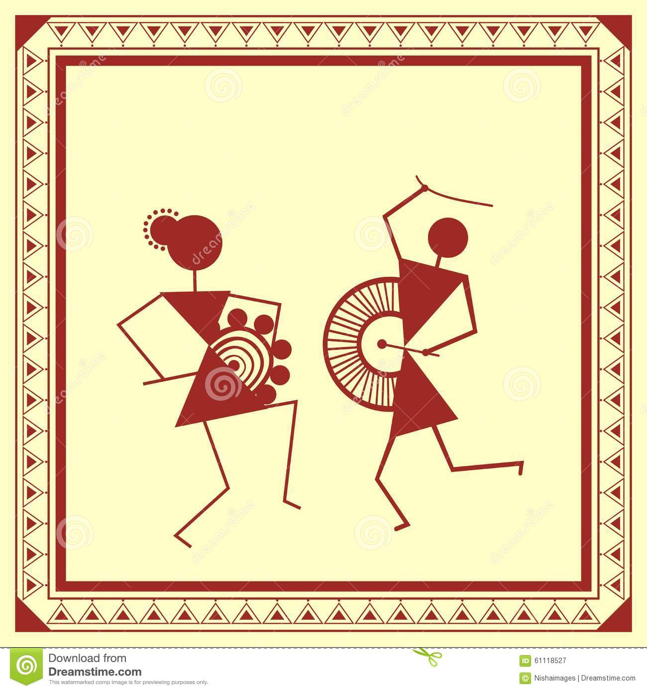 Indian Tribal Painting. Warli Painting Of A Dance Royalty ...