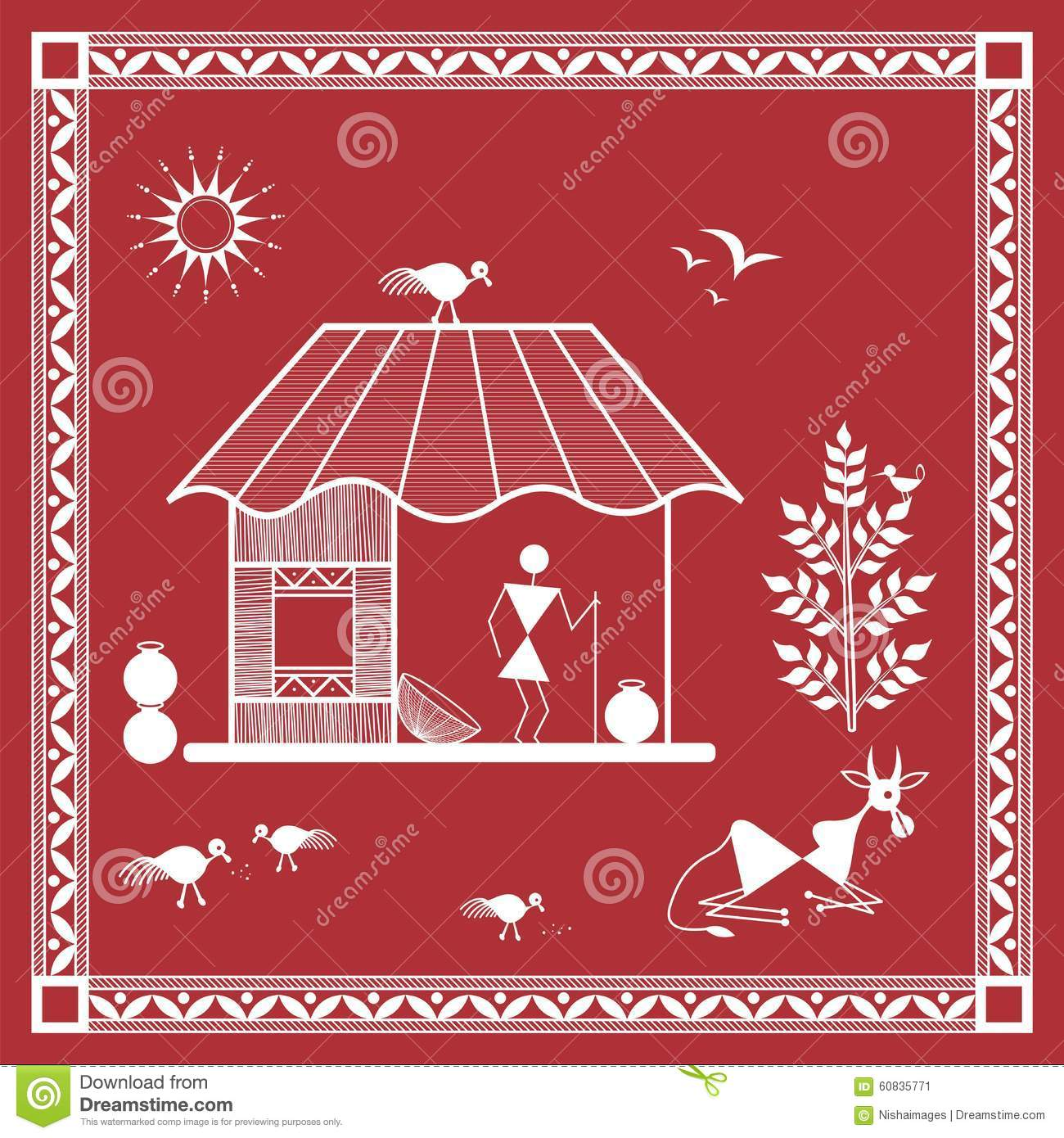 Indian Tribal Painting Warli Painting Of A House Stock