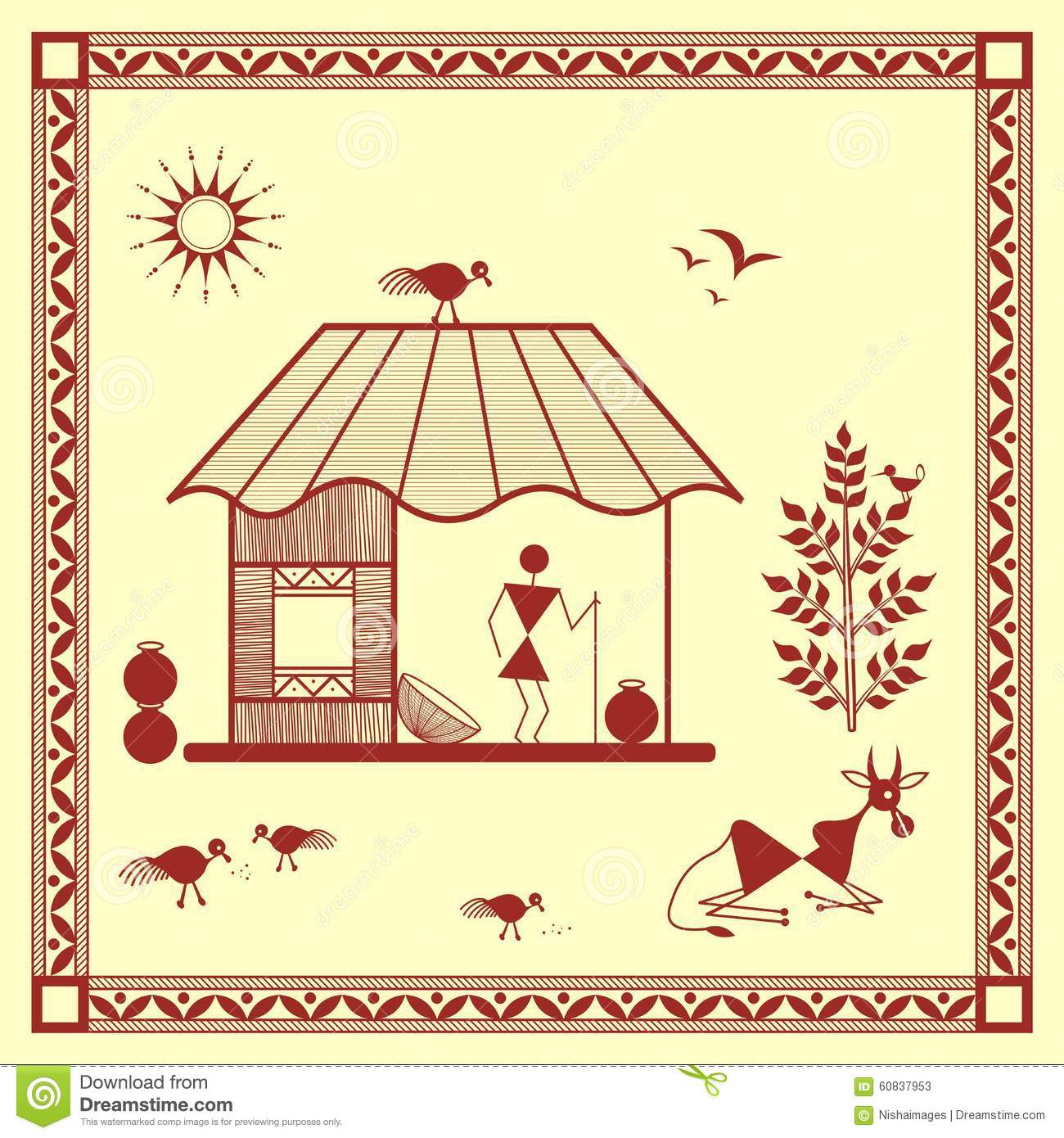 Indian Tribal Painting Warli House