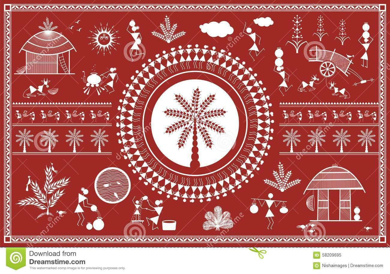 Indian tribal painting warli painting stock illustration download comp altavistaventures Image collections