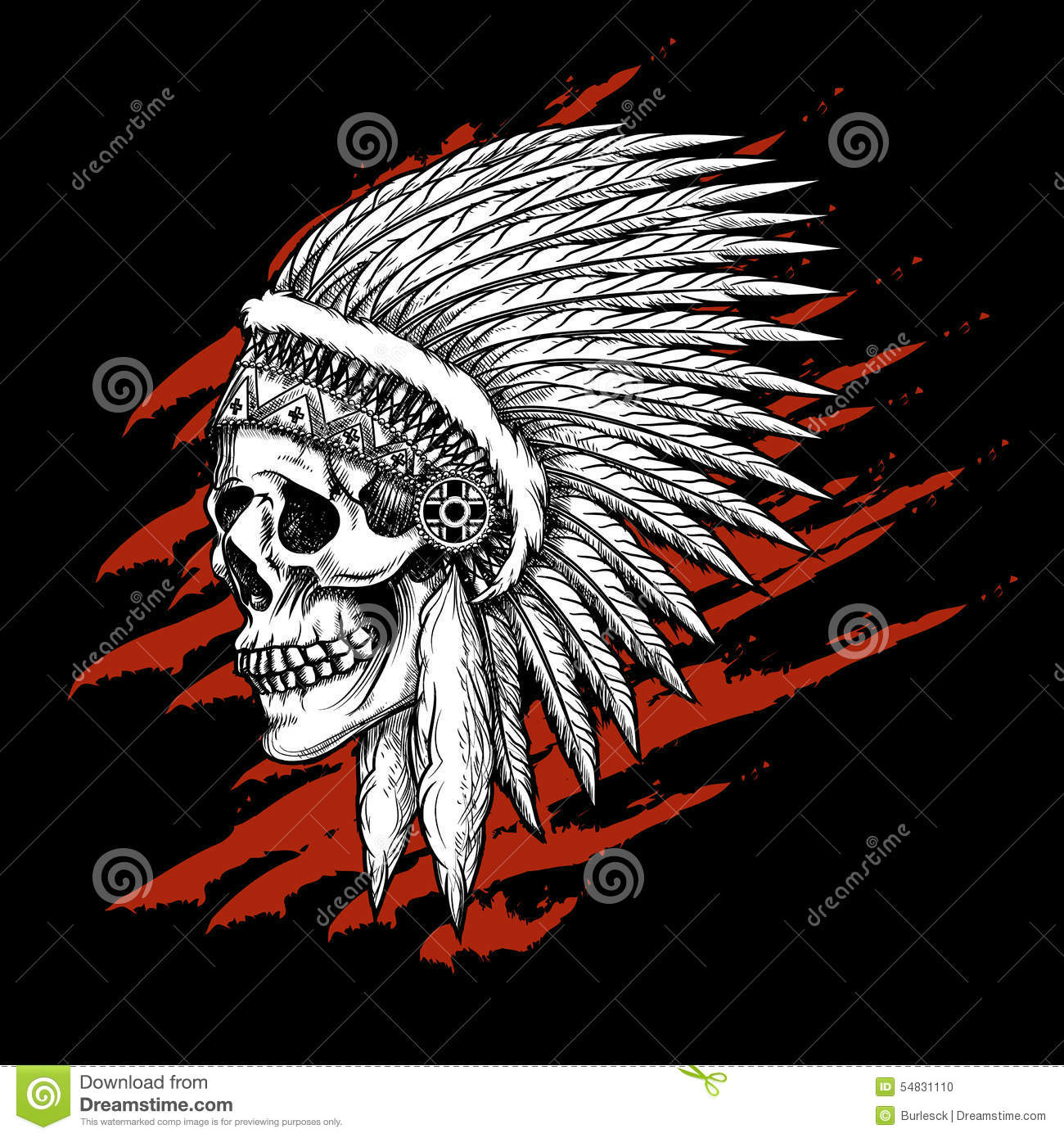 indian tribal skull with feathers emblem stock vector image 54831110. Black Bedroom Furniture Sets. Home Design Ideas