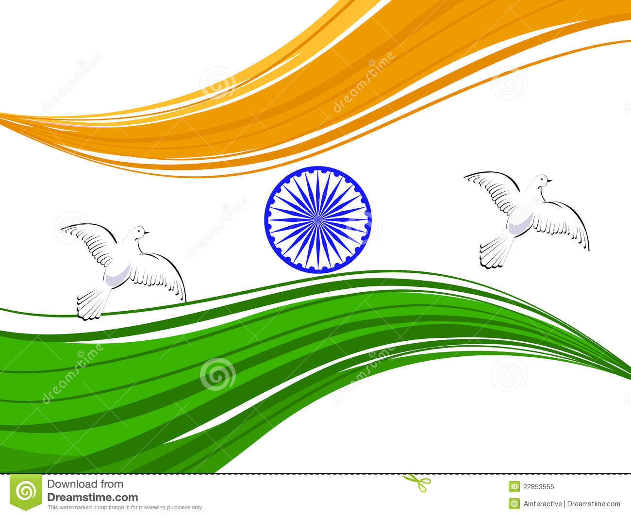 indian tricolor flag with flying pigeons royalty free