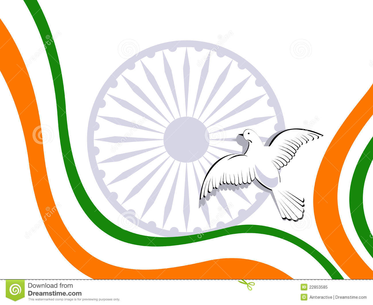 Indian Flag Flying Wallpaper: Indian Tricolor Flag With Flying Pigeons. Royalty Free