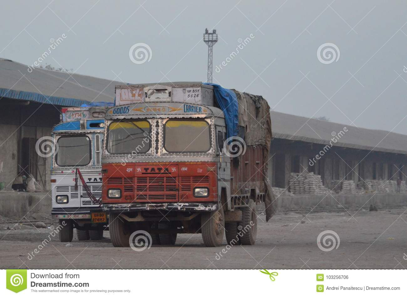 Indian trucks editorial photo  Image of dusty, harsh - 103256706