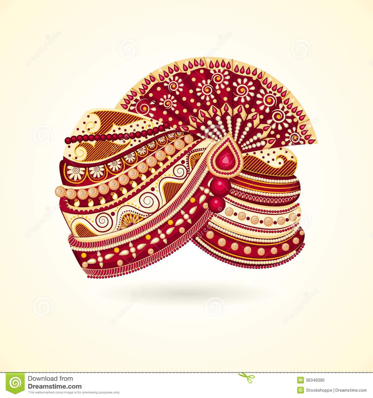 Vector illustration of colorful Indian turban for marriage.