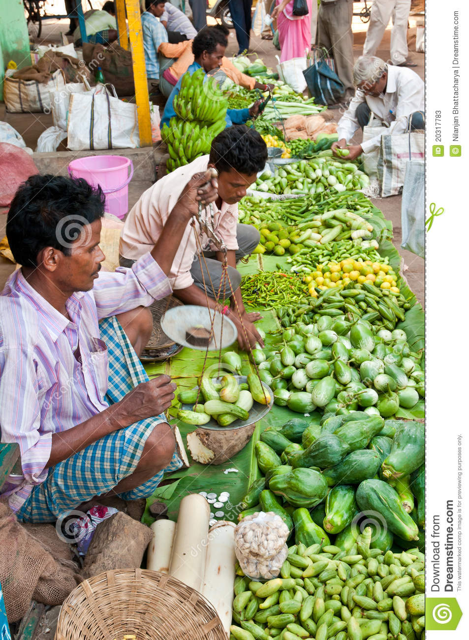 Vegetable farmer's market in India, where hard working farmers come to ...