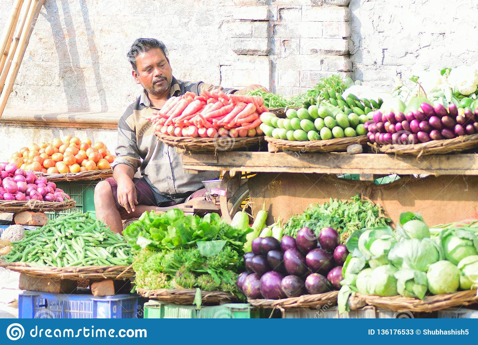 Indian Vegetable Seller At Food Market In Varanasi, India ...