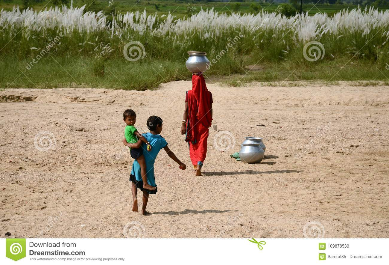 Indian Village Life editorial stock image  Image of children - 109878539
