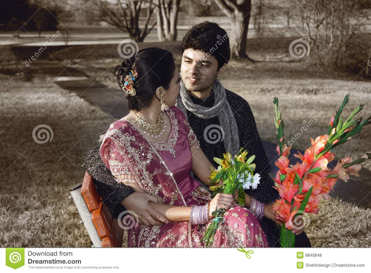 Indian Wedding Couple Stock Photo Image Of Sari Beautiful 8840848