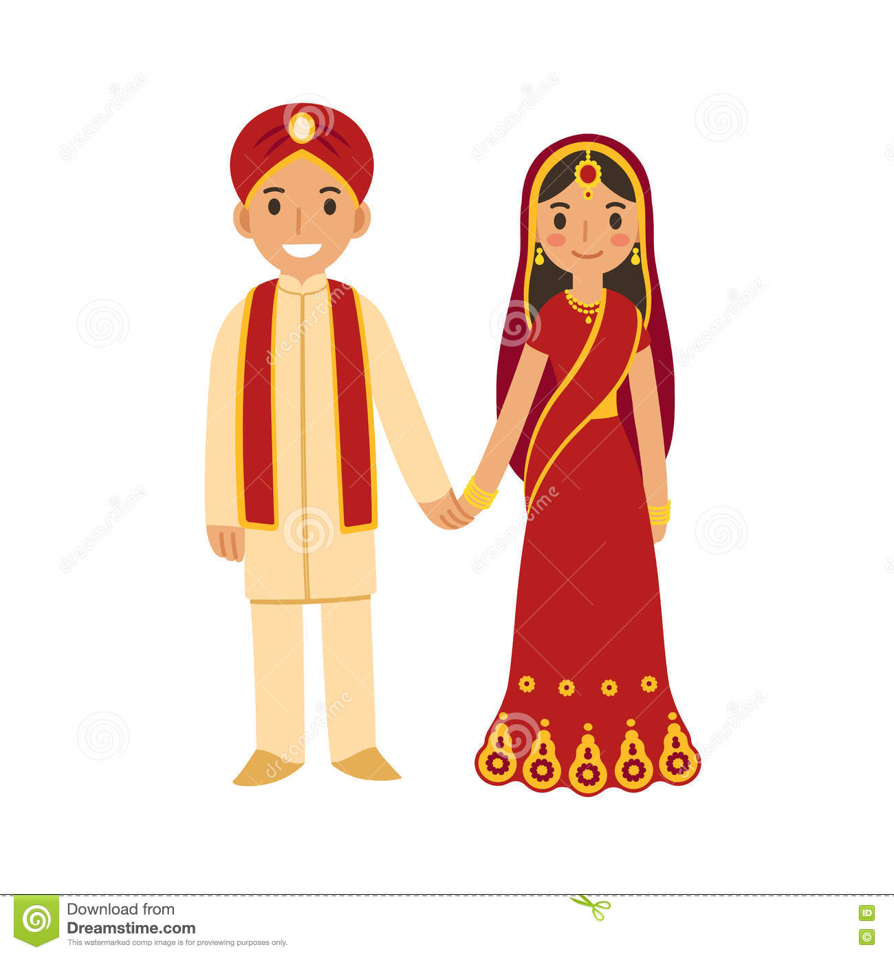 Indian Bride Groom Stock Illustrations – 135 Indian Bride Groom ...