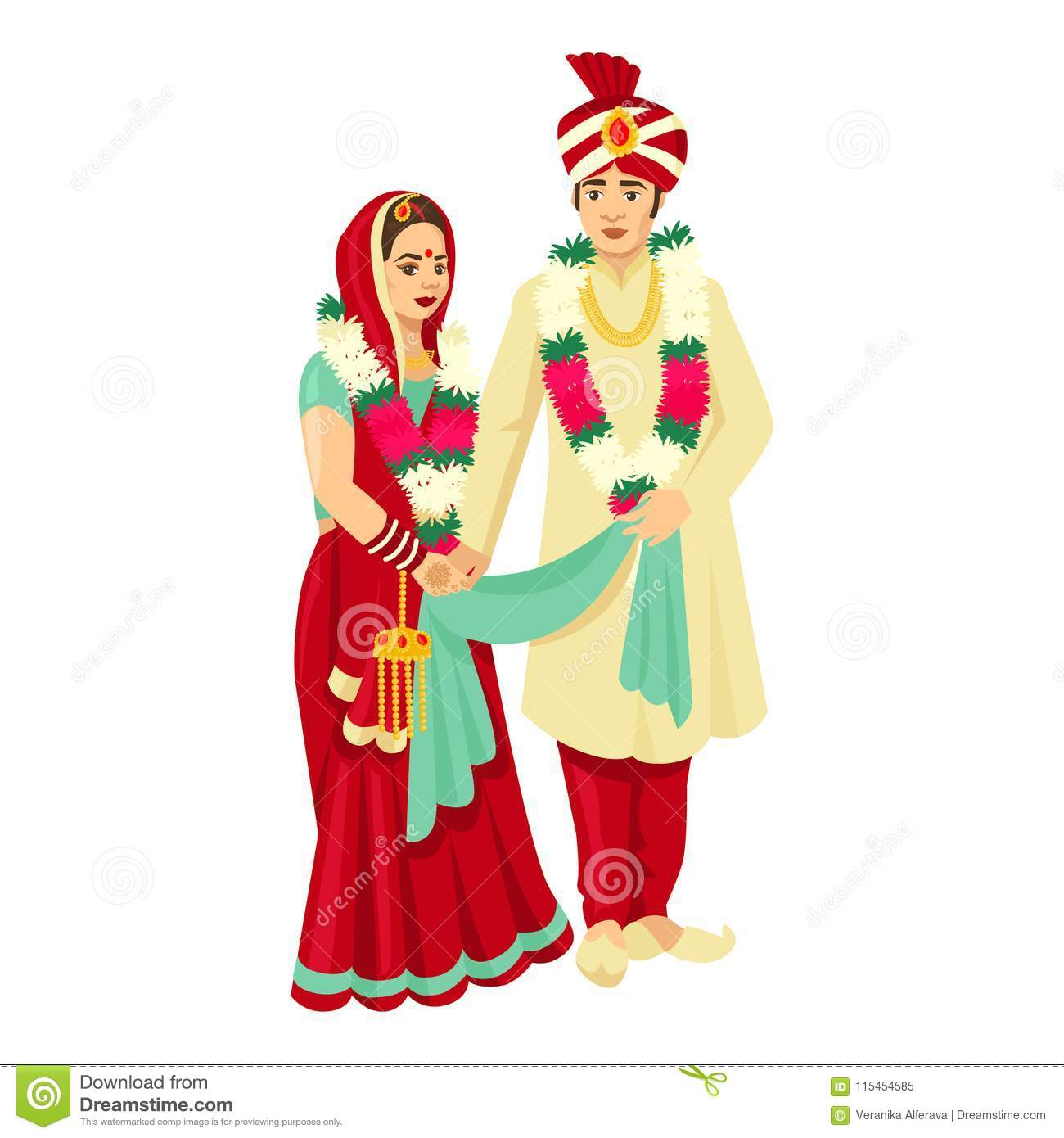 Indian Wedding Couple In Traditional Dresses Vector Design For Wedding Invitation Stock Vector Illustration Of Henna Card 115454585