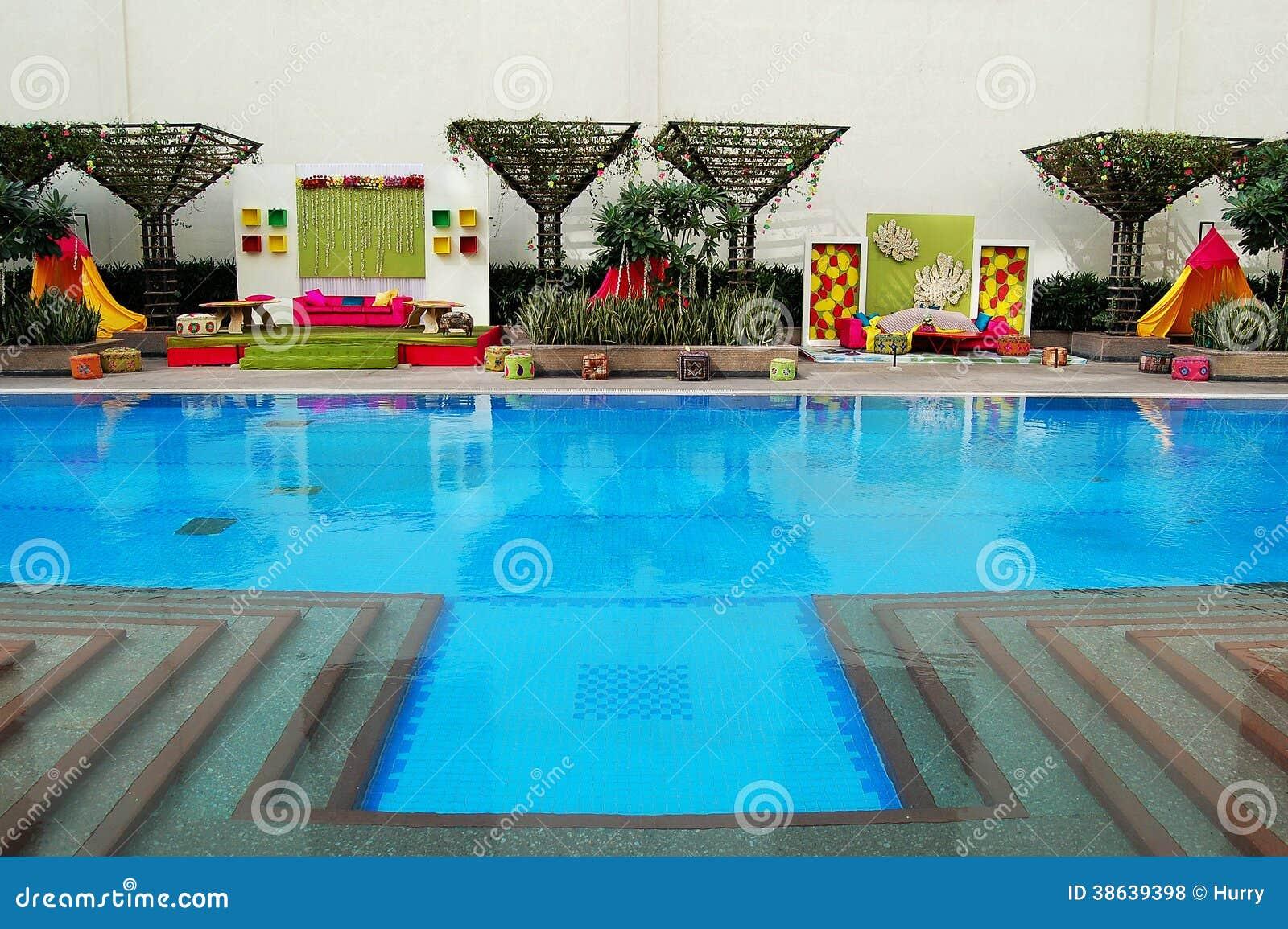 Indian Wedding Decorations Beside Pool Stock Photo Image