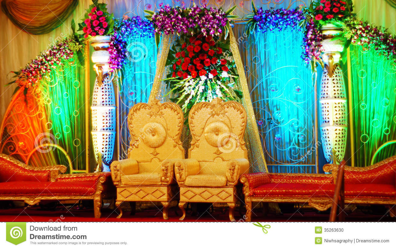 Indian Wedding Hall Stock Photo
