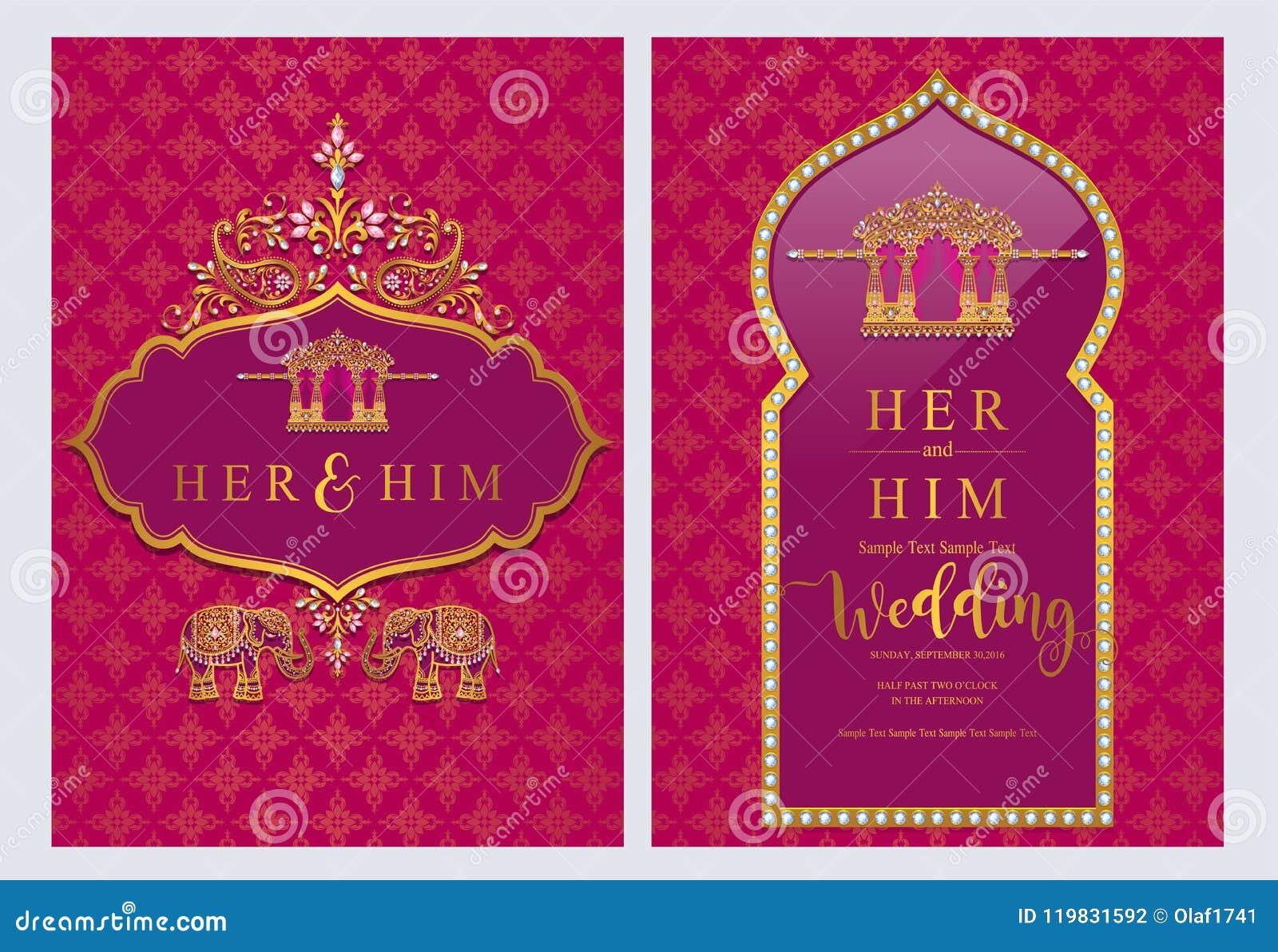 Wedding Invitation Card Templates Stock Vector Illustration Of