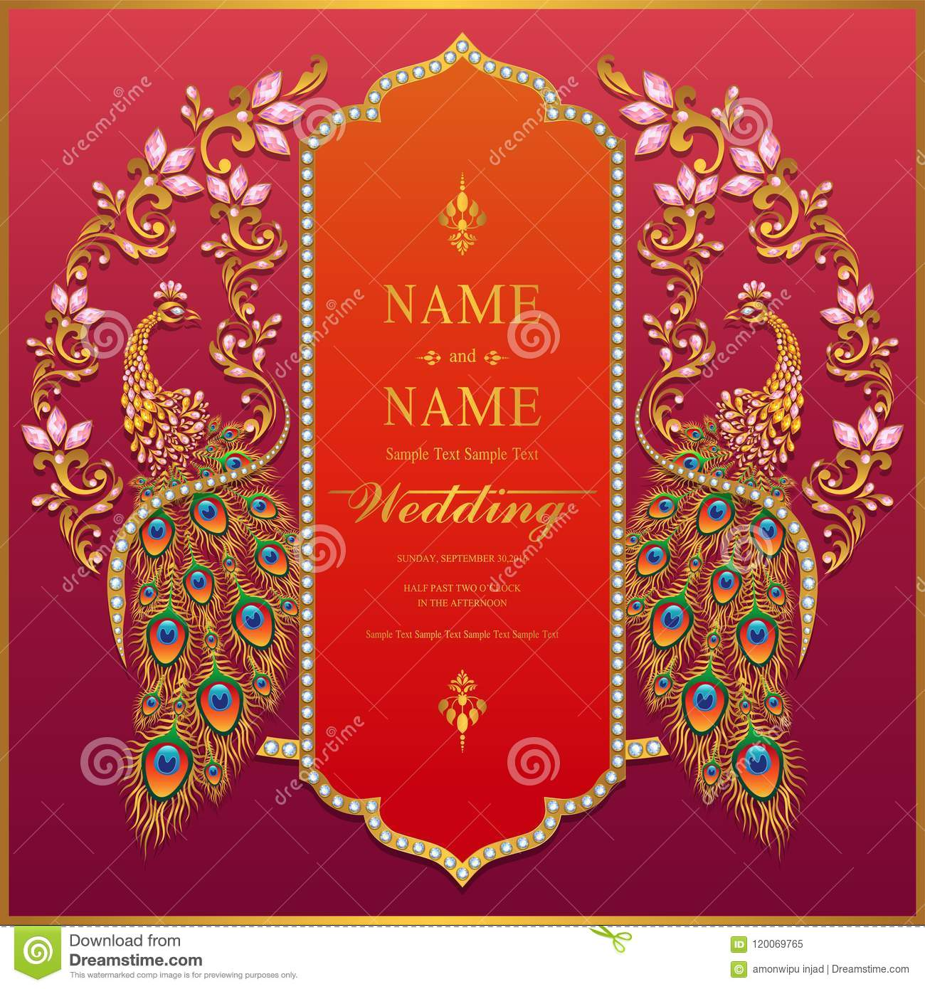 Wedding Invitation Card Templates Stock Vector Illustration Of Dubai Backdrop 120069765