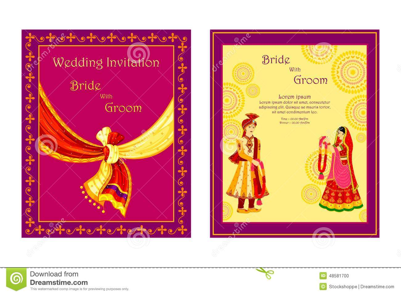 Download Indian Wedding Invitation Card Stock Vector   Illustration Of  Greeting, Concept: 48581700. Download Comp