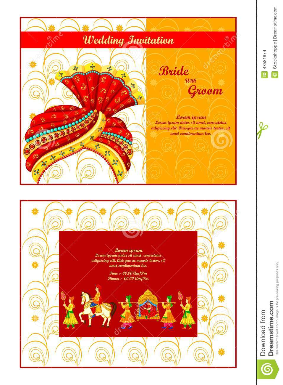 Indian Wedding Invitation Card Stock Vector - Illustration of card ...