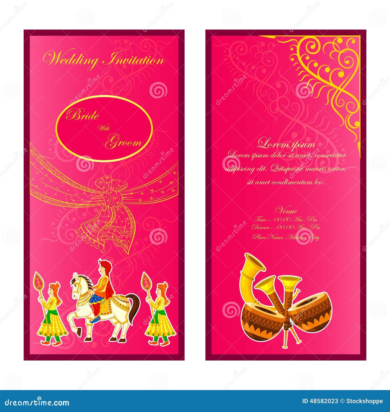 Indian Wedding Invitation Card Stock Vector - Image: 48582023